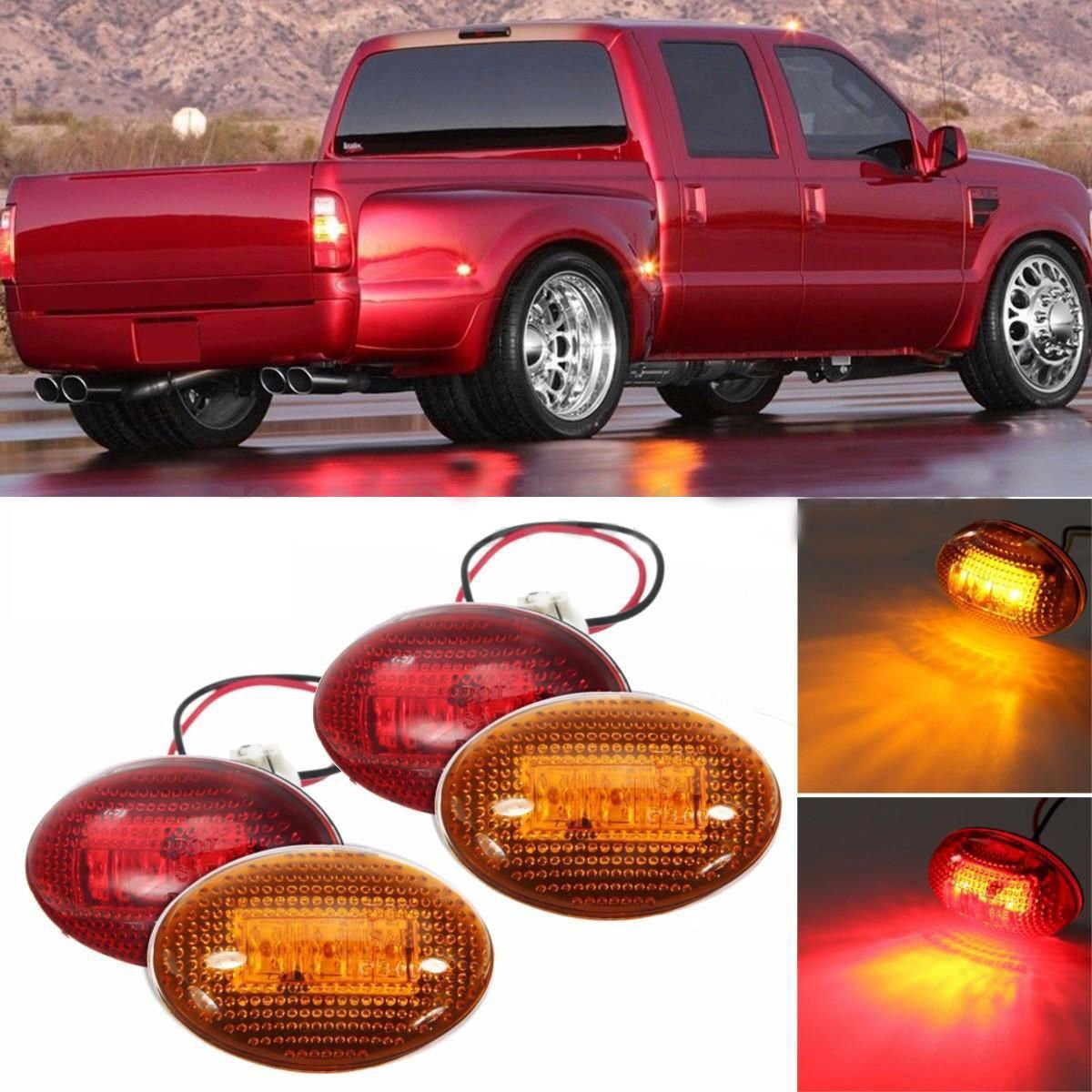 Simply Silver - LED Light Fender - for 1999-2010 Ford F350 Amber/Red Side Fender Marker Dually Bed LED Light Kit FL