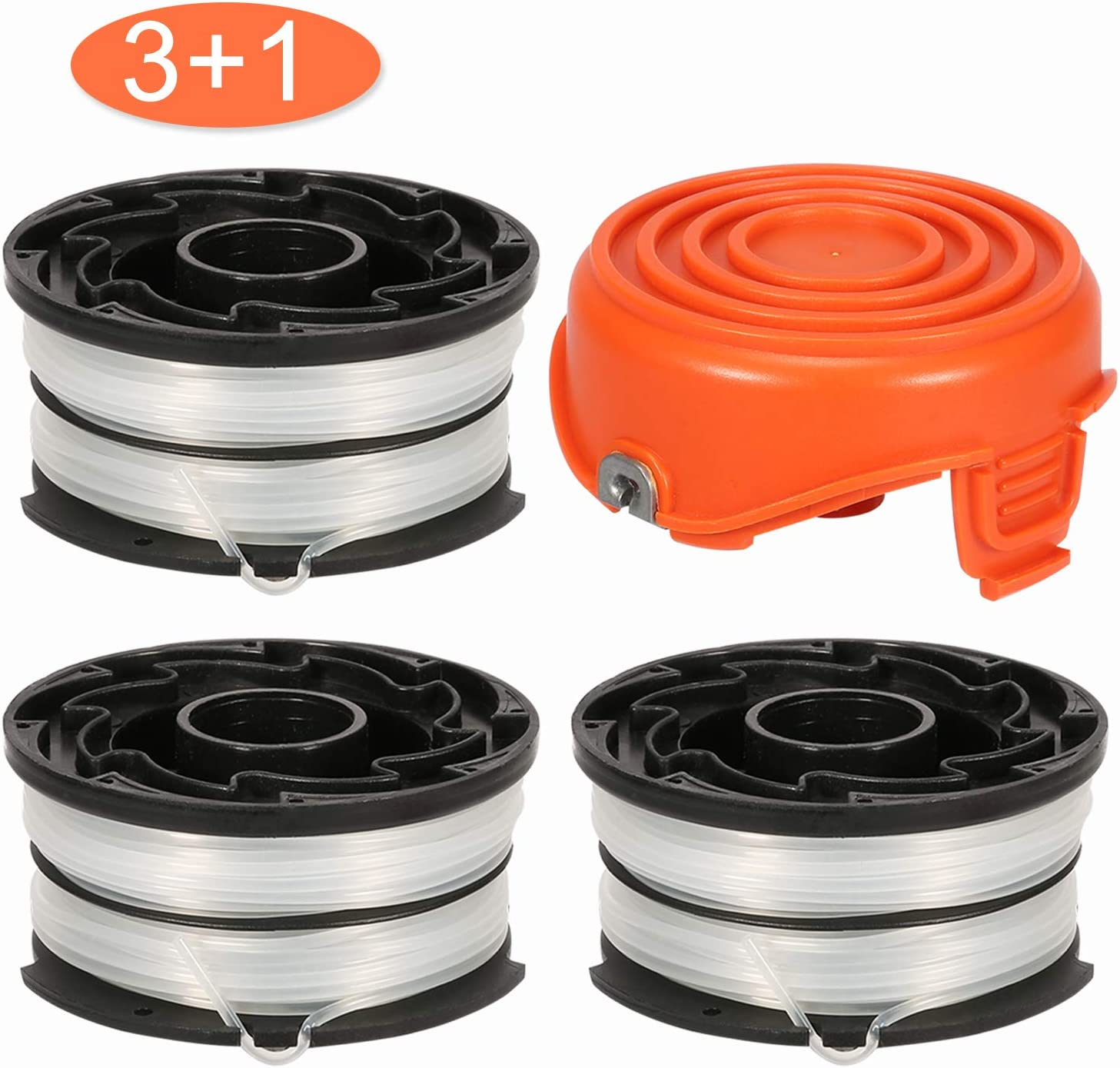 """Thten String Trimmer Spools Compatible with Black and Decker DF-065 GH710 GH700 GH750 RC-065, DF-065-BKP Weed Eater Refills Line 36ft 0.065"""" Auto-Feed Dual Line Edger+ RC-065-P Spool Cover Cap"""