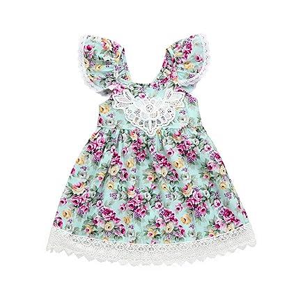 Vestidos Niña Flores, FAMILIZO Vestidos Bebe Niña Verano Vestido De Fiesta Vestidos Niña Verano Manga Corta Para Bebés Niña Vestidos Niñas Ceremonia ...