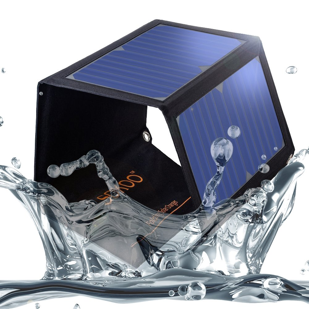 SOKOO 22W 5V 2-Port USB Portable Foldable Solar Charger with High Efficiency Solar Panel, Reinforced and Waterproof, for Cell Phone, iPhone, Backpack and Outdoors (Black) by SOKOO