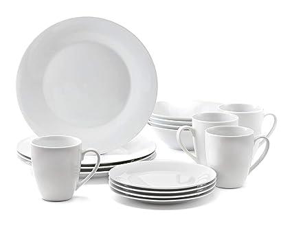 Amazoncom Roscher Dinnerware Dish Set 16 Piece White Ceramic