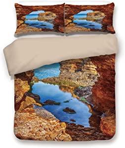 Khaki 6pc Bedding Set,Cavern Rocks by the Pacific Waters with Stunning Australian Sea and Sky Landscape Road King Duvet Cover Set,Printed Comforter Cover With 2 Pillowcases for Teens Boys Girls & Adul