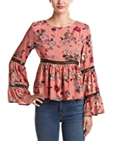 Minkpink Womens Bell-Sleeve Blouse, Red