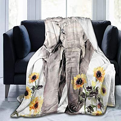 Elephant and Sunflower Thin Blanket Anti Pilling Throw Blankets Cozy Durable Blankets for Spring Summer for Boys Girls for Office Couch Cinema Gifts 50x40 in: Home & Kitchen