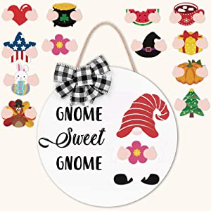 Zingoetrie Interchangeable Gnome Sweet Gnome Wooden Door Hanger with Buffalo Plaid Ornaments Seasonal Home Sign Rustic Farmhouse Welcome Sign Home Decor Ideas 12 Inches White