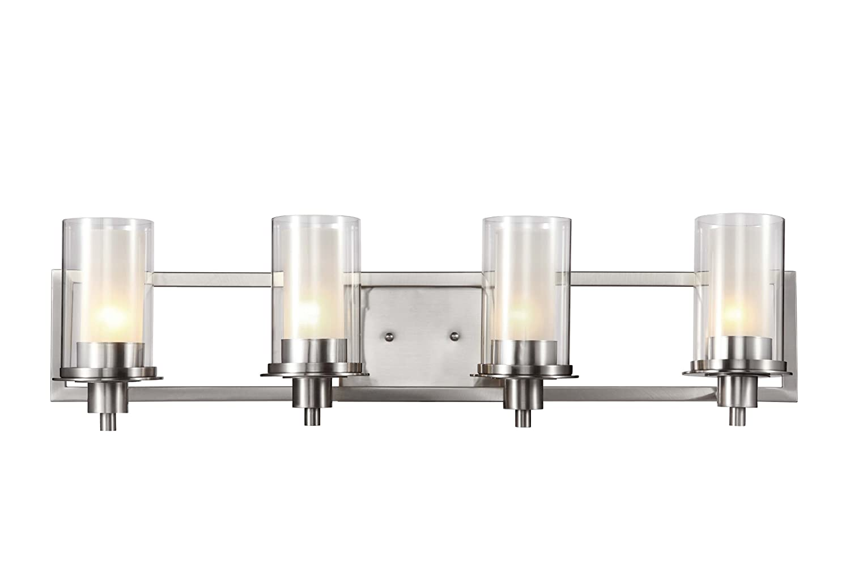 Trans Globe Lighting Square Four Light Wall Bar Nickel - 4 light bathroom fixture brushed nickel