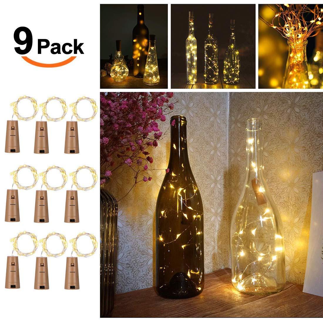 LED Flaschen-Licht, 9x 20 LED Flaschenlichter Lichterketten Nacht Licht Weinflasche Flaschenlicht Kork Flaschen Licht LED Lichter Lichterkette Flaschen DIY- 39 inch- [ Warm-weiß] Flaschen Lichter für Hochzeit Party Romantische Deko - OUTERDO [Energieklasse