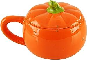 "HOME-X Ceramic Pumpkin Bowl, Seasonal Serving Dish, Soup Bowl with Lid, Orange, 4"" D x 3 ½"" H"