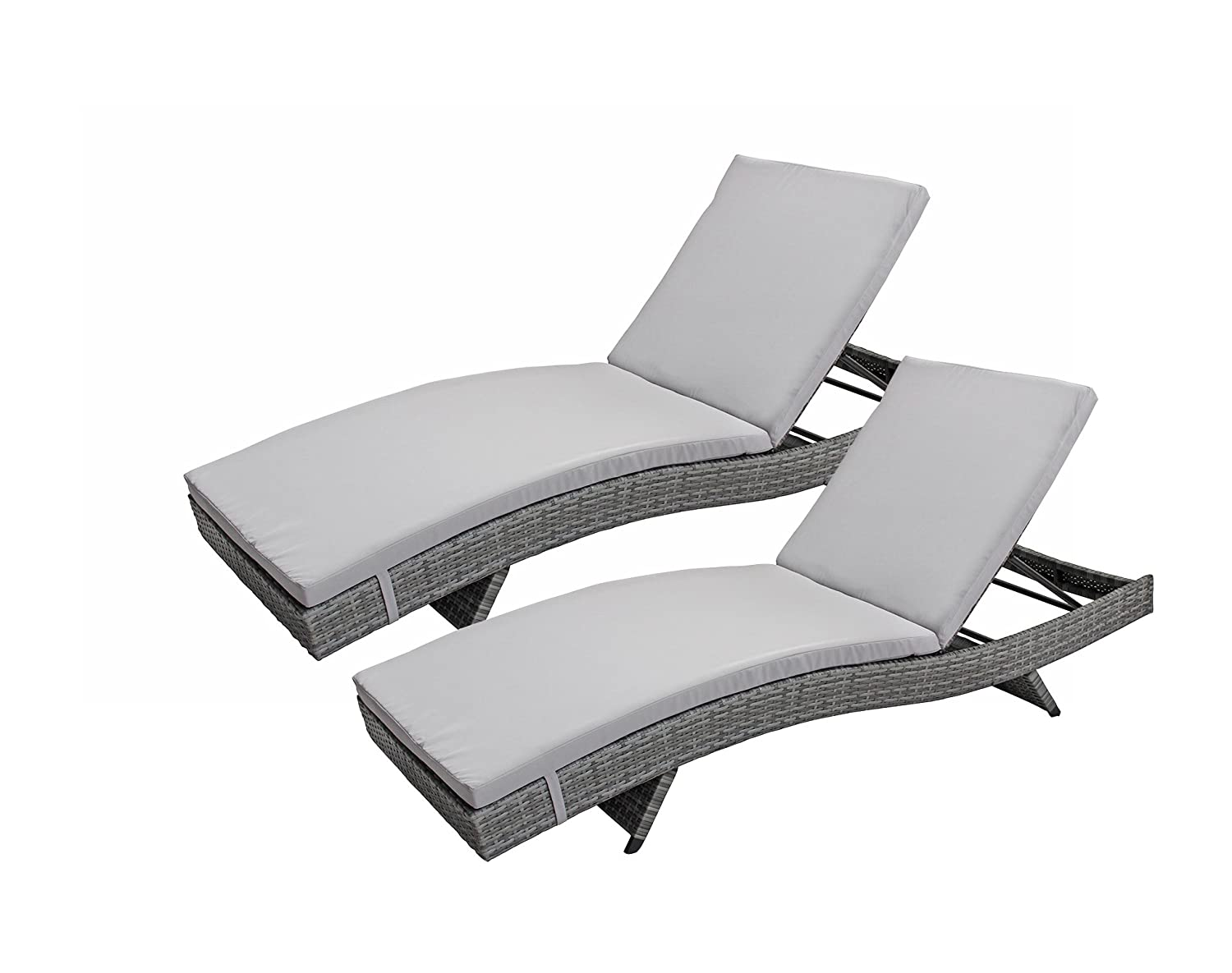 Amazon com divano roma furniture 2 pack all weather modern outdoor patio chaise lounge chairs grey garden outdoor