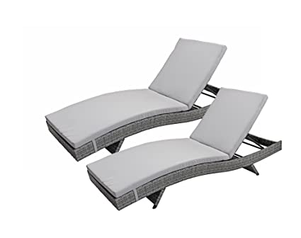 Merveilleux Divano Roma Furniture 2 Pack All Weather Modern Outdoor Patio Chaise Lounge  Chairs (