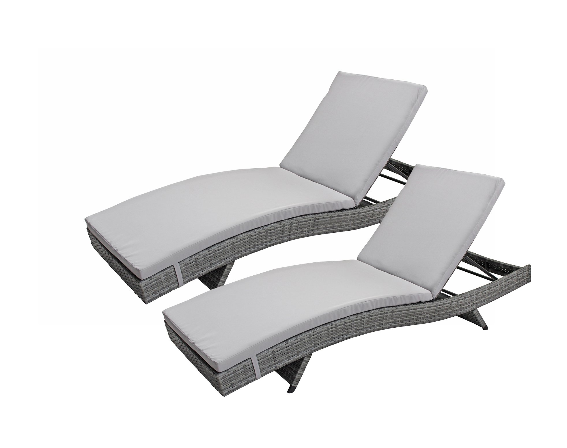 Divano Roma Furniture 2-Pack All-Weather Modern Outdoor Patio Chaise Lounge Chairs (Grey)
