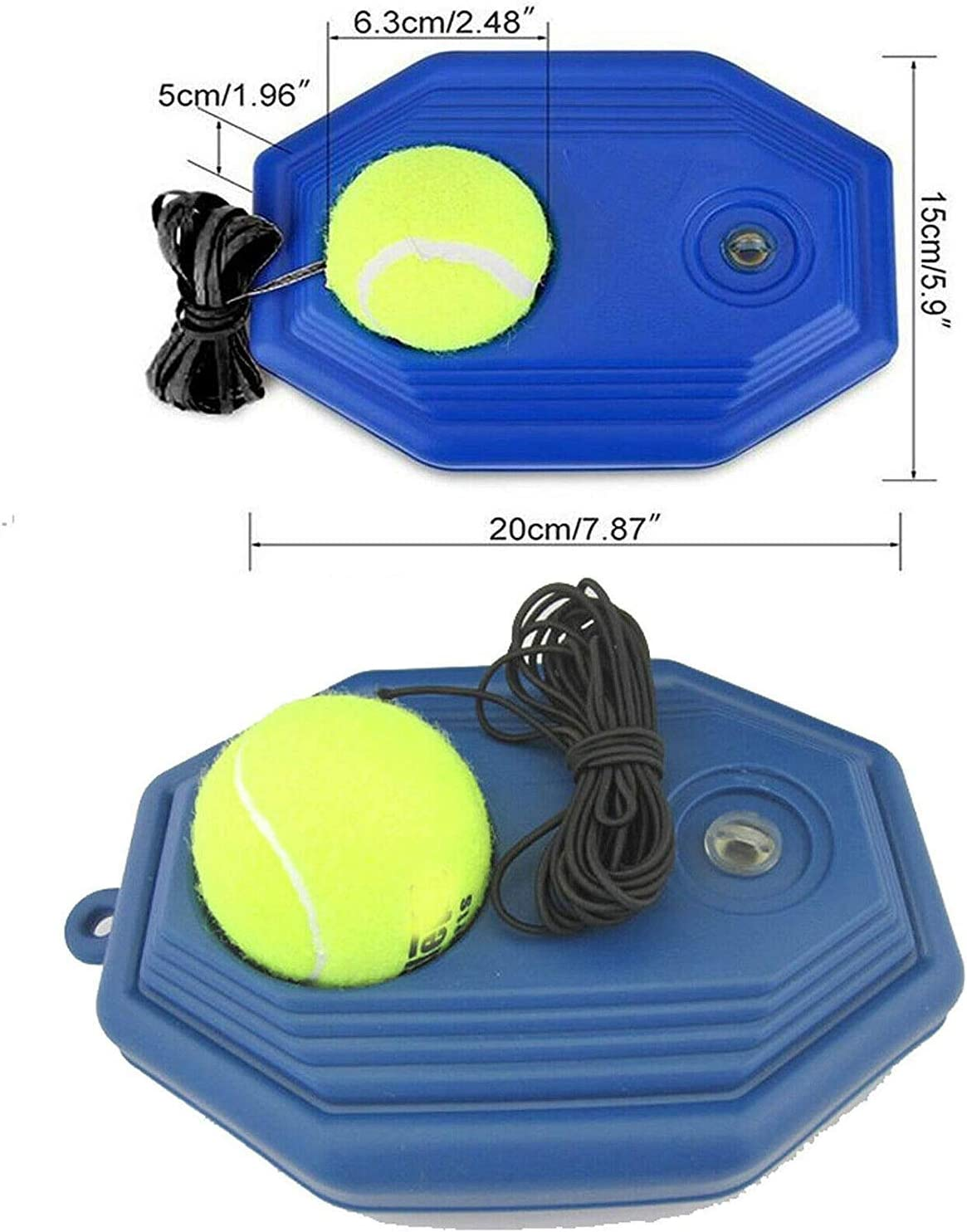 Perfect Solo Tennis Trainer Tennis Trainer Rebounder Ball Trainer Cemented Baseboard with Rope Self-Study Tennis Rebound Player Training Aids Practice Great for beginners and intermediate players