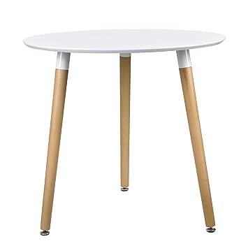 Esstisch rund weiß  en.casa] Esstisch Rund Weiß [H:75cmxØ80cm] Holz Tisch Retro ...