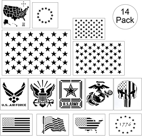 Plantillas para estarcir con bandera estadounidense, 14 unidades ...
