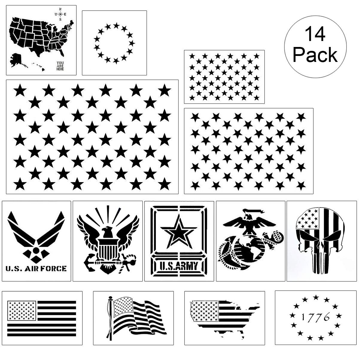 American Flag Stencil Templates - 14 Pack 50 Stars 13 Stars 1776 Punisher Skull Flag Map Navy Army Airforce Marines Stencils, Reusable Plastic Stencils for Painting on Wood & Wall by REOLAN
