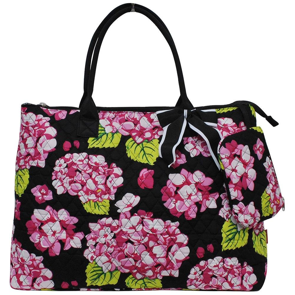 NGIL Quilted Cotton Extra Large Overnight Travel School Tote Bag 2018 Spring Collection (Hydrangea Black) by NGIL (Image #1)