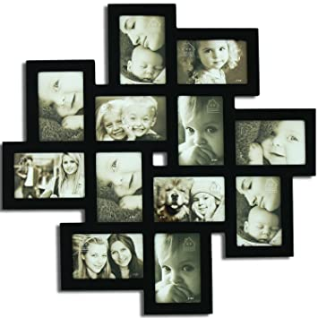 adeco pf0206 decorative black wood wall hanging collage picture photo frame 12 openings