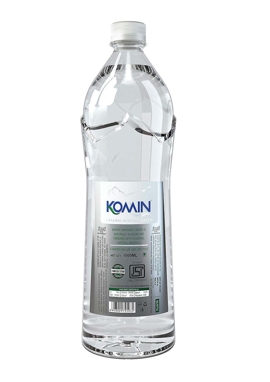 Komin Natural Mineral Water-1000ml (Pack of 12 Bottles)   Naturally  Alkaline Water
