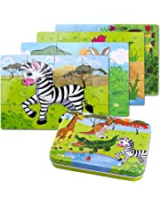 BBLIKE 4 in 1 Jigsaw Wooden Puzzles Toy in a Tin Box for Kids,56pcs Varying Degree of Difficulty Educational Tool Best Birthday Present for Boys Girls (Zebra, Crocodile, Giraffe, Kangaroo)