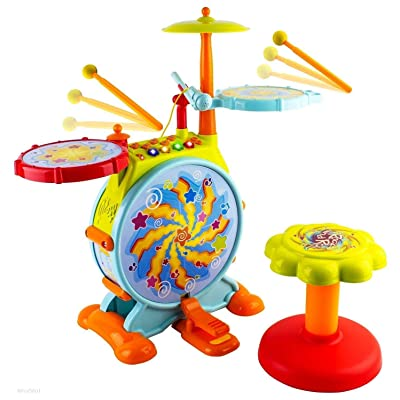 Play Baby Musical Big Toy Kids Drum Set with Adjustable Mic and Seat - Many Functions and Activities for Hours of Play - Pretend to Be A Real Drummer with Drumsticks, Pedals, and Bass Drum: Toys & Games