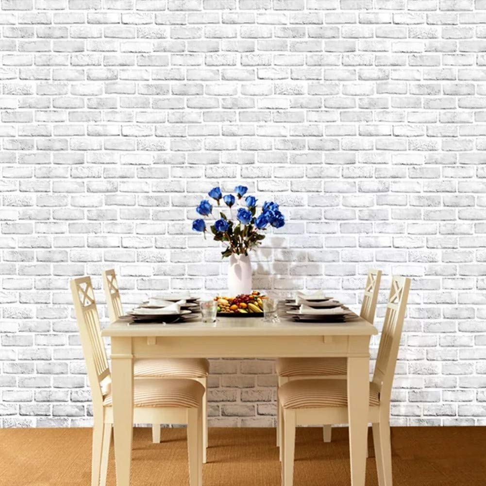 Yancorp White Gray Brick Wallpaper Grey Self-Adhesive Contact Paper Home Decoration Peel and Stick Backsplash Wall Panel Door Stickers Christmas Decor (18''x394'') by Yancorp (Image #8)