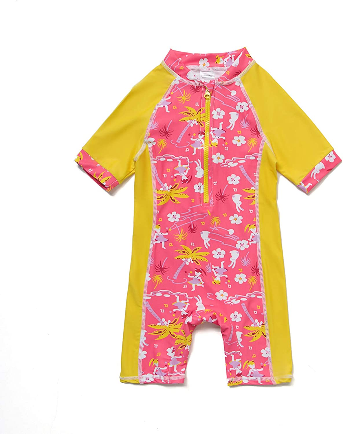 Baby Girls Sunsuit UPF 50+ Sun Protection One Pieces Short Sleeves Swimwear with Sun Hat(Yellow,24 36Months)