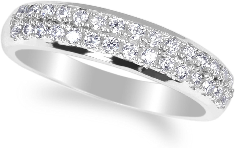 JamesJenny Ladies 10K White Gold Round CZ Engagement & Wedding Band Ring Size 4-10