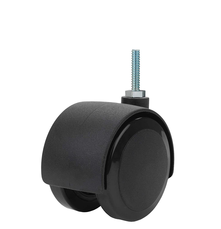 110 lb Capacity Range 1//4-20 Diameter x 1 Length Threaded Stem 1//4-20 Diameter x 1 Length Threaded Stem Twin Wheel Caster Solutions TWHN-50U-T03-BK 2 Diameter Nylon Wheel Hooded Non-Brake Caster