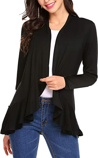 Mofavor Womens Draped Open Front Long Sleeve Hooded Knit Sweater Cardigan with Pockets