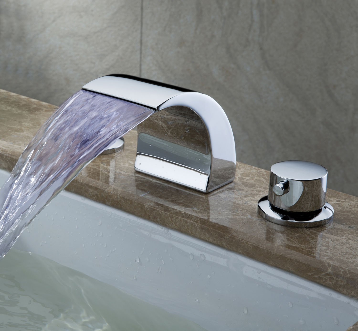 Greenspring Widespread Bathroom Sink Faucet LED Color Light Two Handles Waterfall Faucets,Chrome