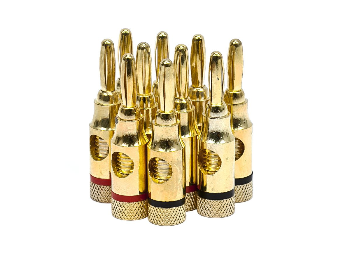 Monoprice 5PRJX74047 Gold Plated Speaker Banana Plugs – 5 Pairs – Open Screw Type, for Speaker Wire, Home Theater, Wall Plates and More