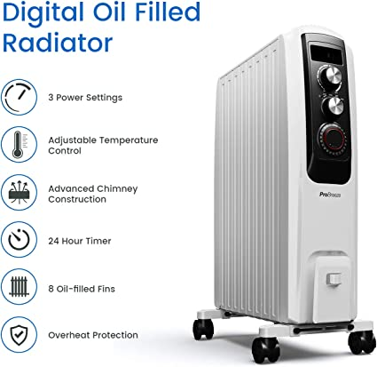 Pro Breeze Oil Filled Radiator 2000W Advanced Chimney Circulation – Portable Electric Heater with Built-in Timer, 3 Heat Settings, Thermostat and Safety Cut-Off