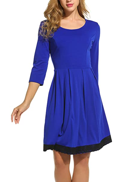 55247efc4896 Meaneor Women's 3 4 Sleeve Lace Trim Slim Cocktail Party Pleated Swing  Dress at Amazon Women's Clothing store: