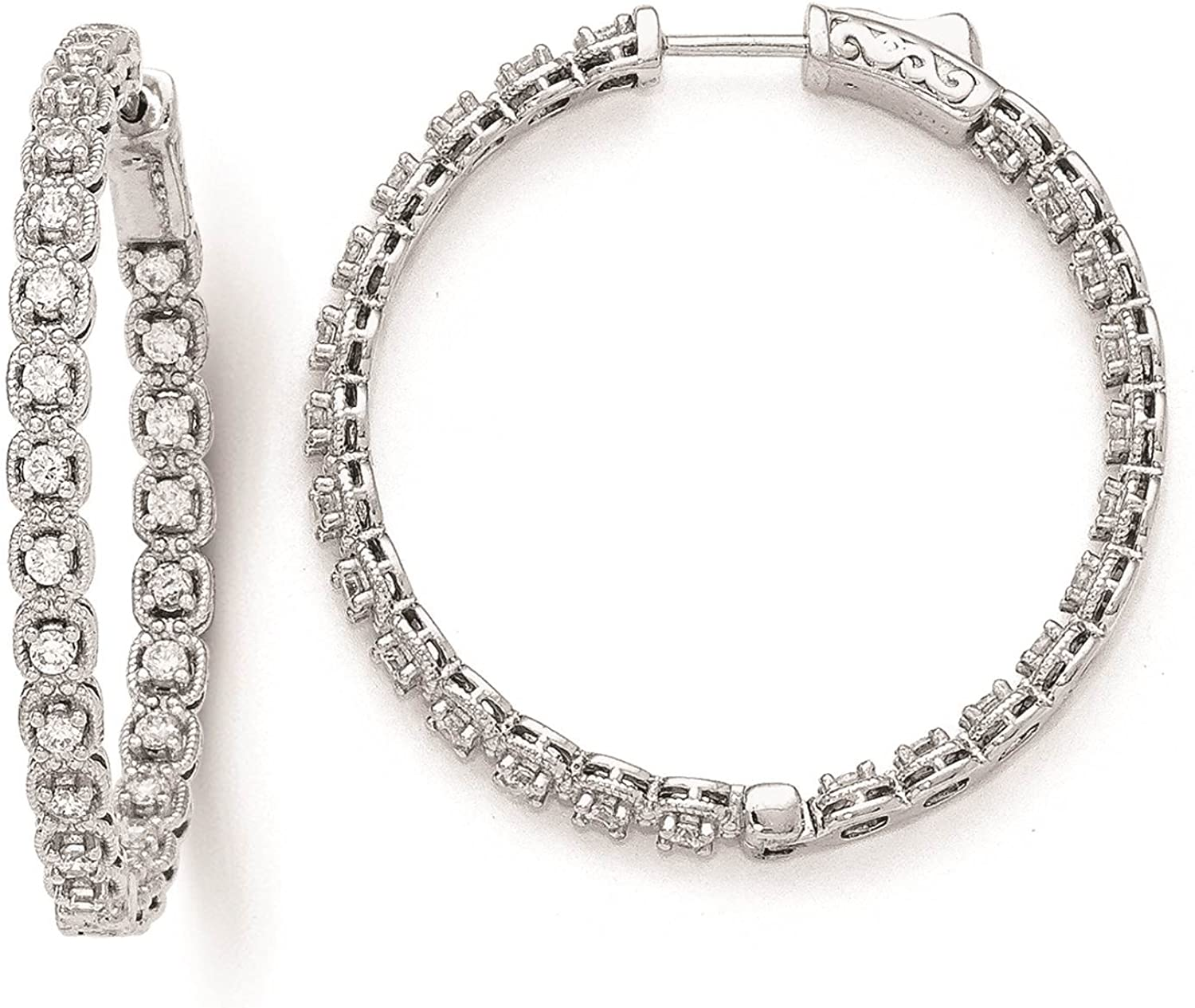 925 Sterling Silver Rhodium-plated CZ In /& Out Hoop Earrings 3mm x 37mm by 925 Sterling Shimmer