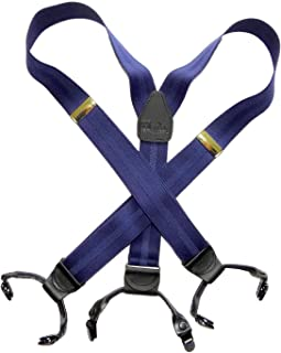 product image for Holdup Suspender Company's Blue Stripe Jacquard weave Double-up style Suspenders with Patented No-slip Clips