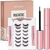 Aroamas Magnetic Eyeliner and Magnetic Eyelash Kit, [7 Pairs]No Glue Reusable Silk False Lashes, Easier To Use Than Tradition