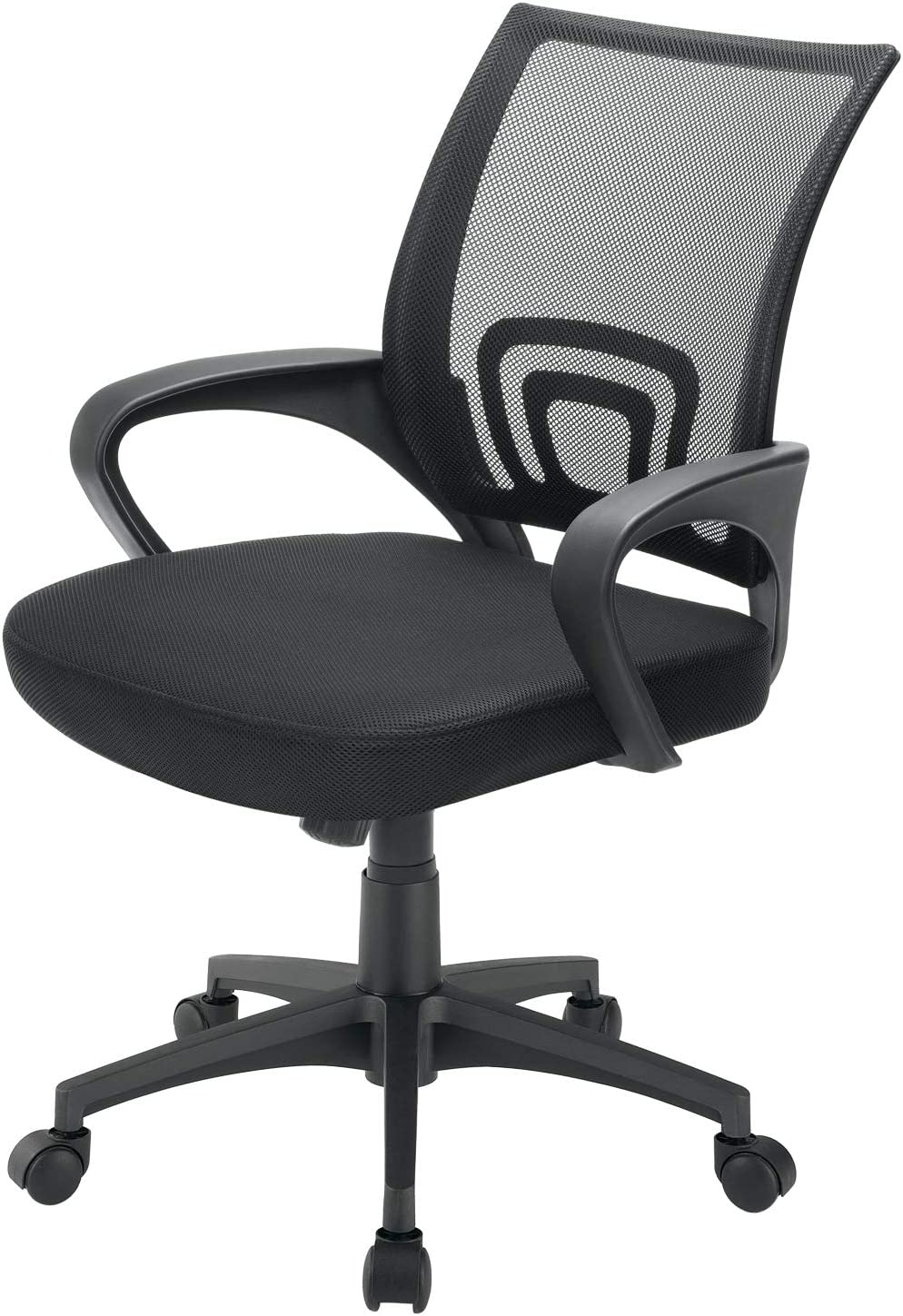 BOSSIN Office Chair Mesh Desk Chair Ergonomic Computer Chair with Lumbar Support Modern Executive Adjustable Chair Rolling Swivel Chairs for Women Men,Black (Black)