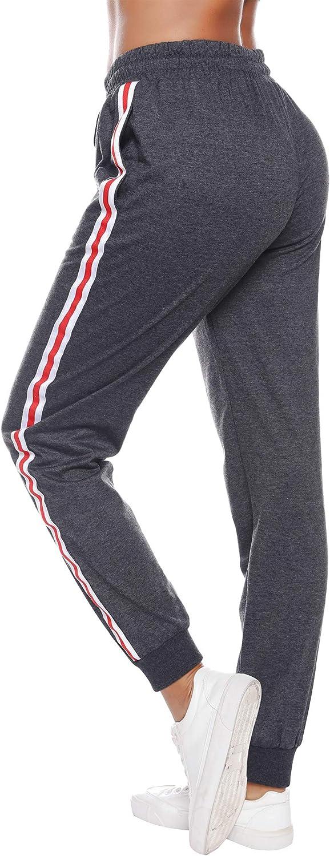 Sykooria Pantalones Deportivos Casuales para Mujer Pantalones de Jogger de Cintura con cord/ón de algod/ón Pantalones de ch/ándal Suaves y Ligeros Pantalones de ch/ándal con Bolsillo