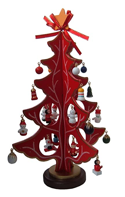 red or green 4 sided wooden christmas tree with 22 wooden decorations red