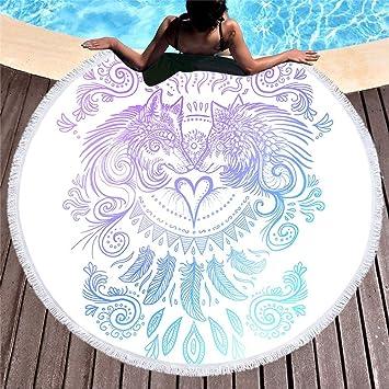 QSZS Toallas de Playa,Patrón de Lobo 3D,Toallas de Sauna,Tapete Redondo