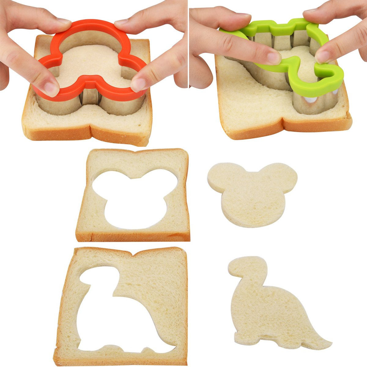 8 Piece Stainless Steel Sandwiches Cutter, Mickey Mouse & Dinosaur Cookie Cutter, Food Grade Biscuit Mold Cookie Cutter for Kids Suitable for Cakes and Cookie by Kspowwin (Image #4)