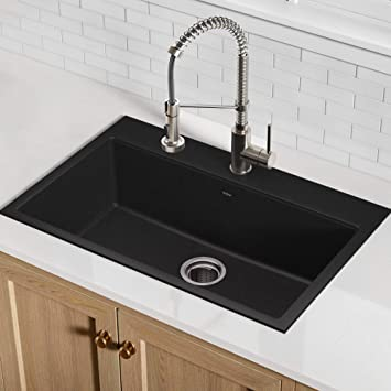 Kraus Kgd 412b 31 1 5 Inch Dual Mount Single Bowl Black Onyx Granite Kitchen Sink Amazon Ca Tools Home Improvement