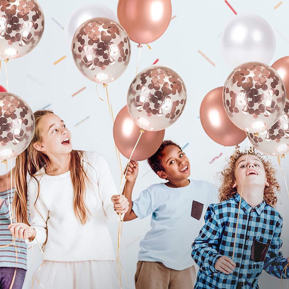 Dsaren 87 Piezas Rose Gold Party Decorations 40 Piezas Globos de Confeti de Oro Rosa 20 Piezas Servilletas Papel Rosa 25 Piezas Pajitas 2 Rollos de Cinta Rosapara Fiesta de Cumplea/ños