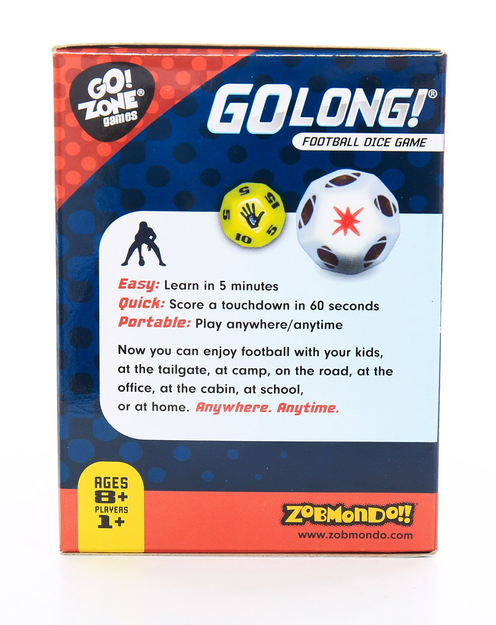 Zobmondo!! Award winning Dice Game, GoLong! A Football Dice Game - Super Fun Game - Portable, Playing Dice : Perfect For - Travel, Home, Parties, Gifts, Stocking Stuffers by Zobmondo!! (Image #3)