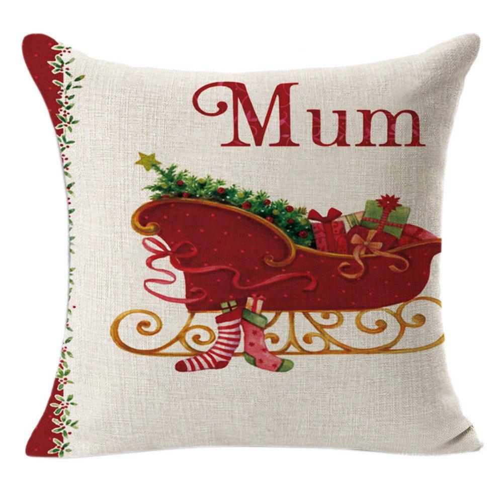 Quelife Christmas Linen Square Throw Flax Pillow Case Decorative Cushion Pillow Cover Pillowcase