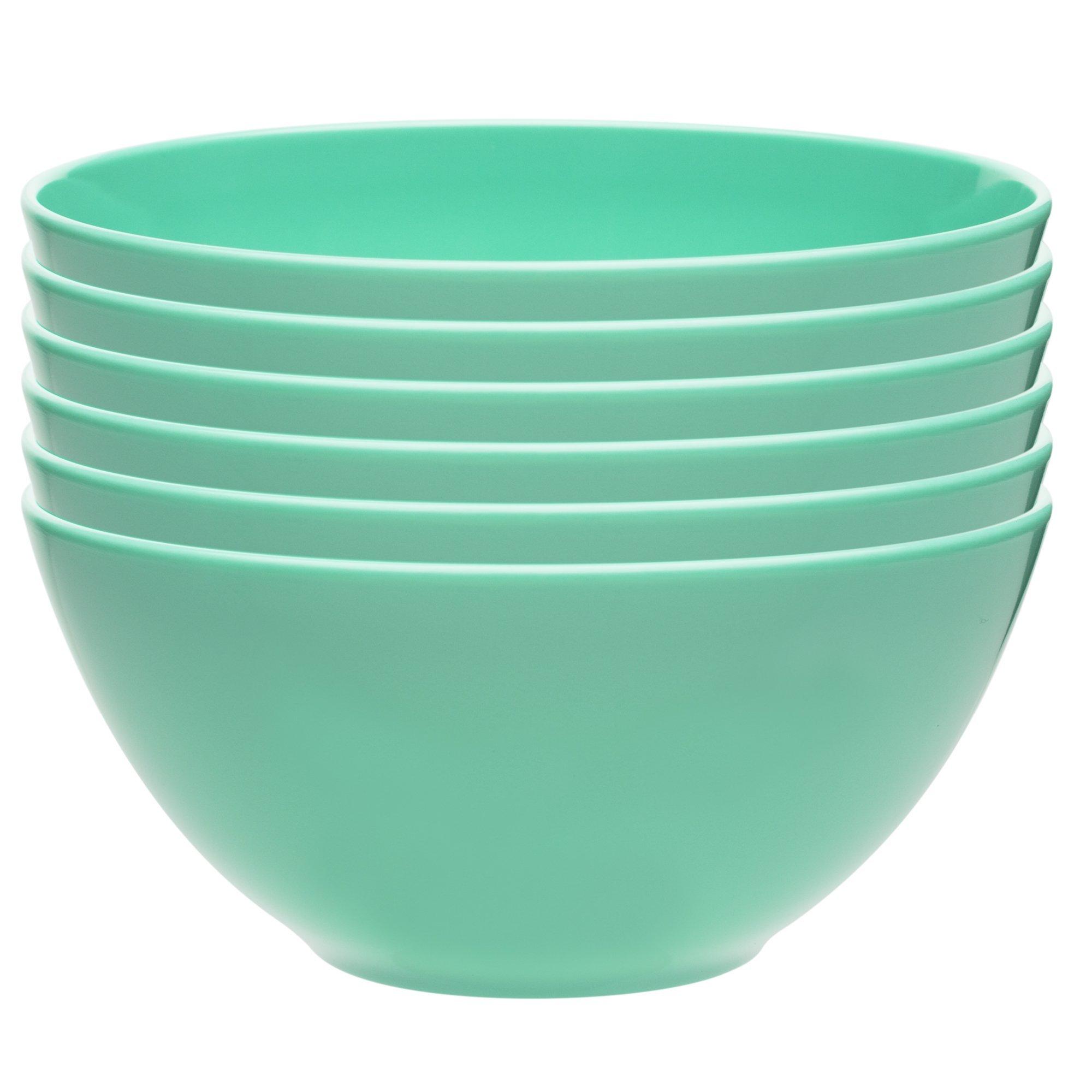 Zak Designs Ella 6-inch Plastic Bowls, Seaglass, 6 piece set