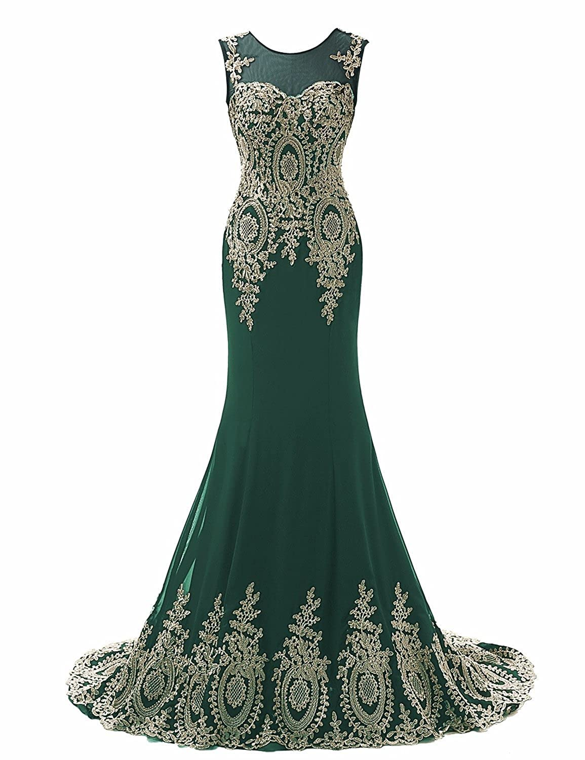 Special Bridal Womens Scoop-Neck Graphic Sleeveless Long Gown Dress Dark Green Customize