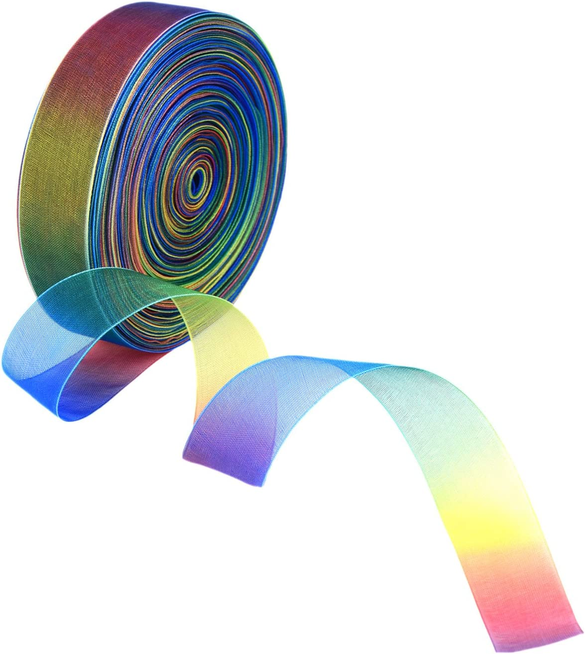 Shappy 1 Inch Shimmer Sheer Organza Ribbon Rainbow Colors 50 Yard