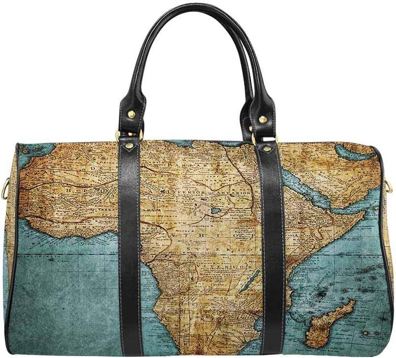 InterestPrint Weekender Bag Overnight Carry-on Tote Duffel Bag Vintage African Map World Map
