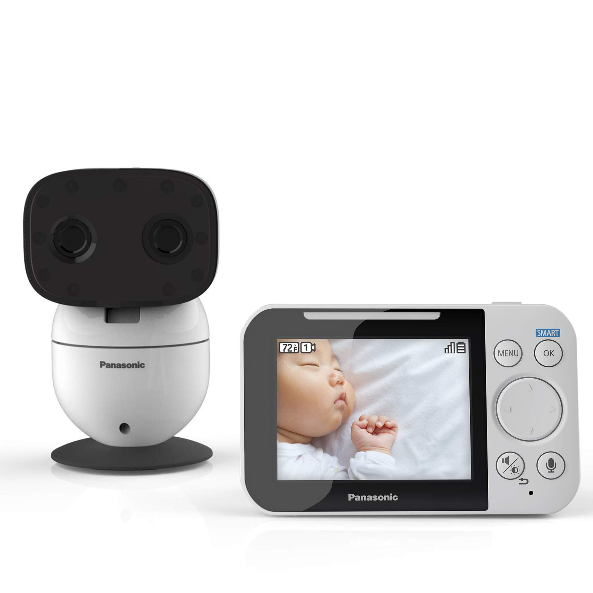 Panasonic Video Baby Monitor with Remote Pan/Tilt/Zoom, Extra Long Audio/Video Range, 2 Way Talk & Lullaby or Noises - KX-HN3001W (White)